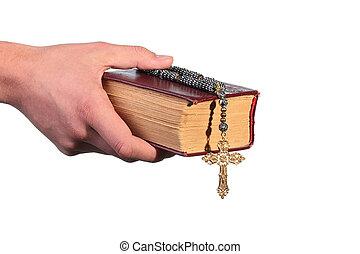 bible, vieux, croix