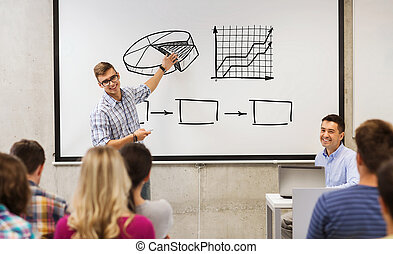 group of students and teacher at white board - education,...