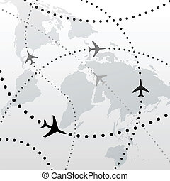 World airplane flight travel plans connections - World map...