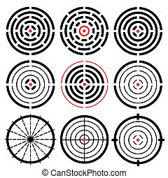 Set of 9 different vector highly detailed crosshairs. Target