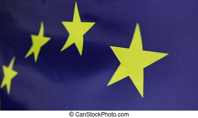 Closeup of European Union flag - Closeup of a textile...