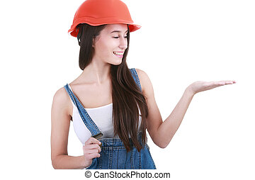 repair, construction and maintenance concept - smiling woman in