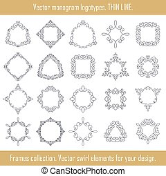 Floral frames collection Vector set of frames Swirl elements...