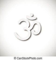Sign Om. Hand drawn symbol of Buddhism and Hinduism religions