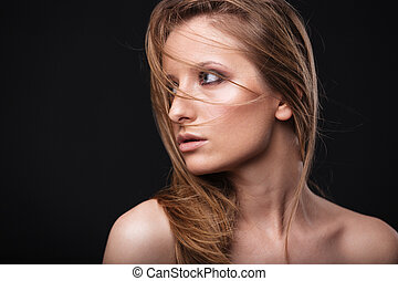 Lovely woman with fresh skin looking away - Beauty portrait...