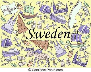 Sweden vector illustration - Vector line art Doodle set of...