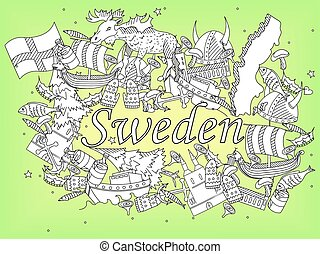 Sweden coloring book vector illustration - Vector line art...