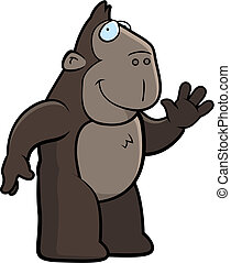 Ape Waving - A happy cartoon ape waving and smiling.