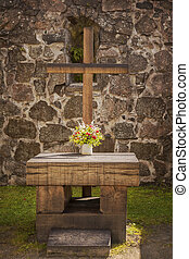 Outdoor church altar - Image of the outdoor altar of Rya...