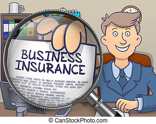 Business Insurance through Magnifier. Doodle Style. -...