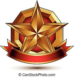 Golden symbol with stylized star - Branded golden symbol...