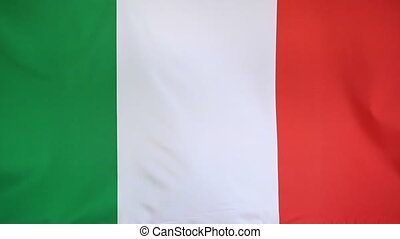 Textile flag of Italy, slow motion