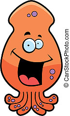 Squid Smiling - A cartoon orange squid smiling and happy