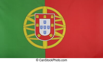 Flag of Portugal in slow motion - Textile flag of Portugal...