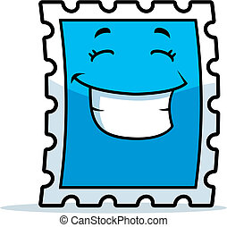 Stamp Smiling - A cartoon postage stamp smiling and happy