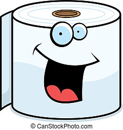 Toilet Paper Smiling - A cartoon toilet paper roll smiling...