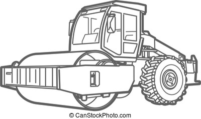Road Roller outline. Asphal paver - Road Roller illustration...