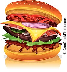 Big Bacon Burger - Illustration of a design big bacon burger...