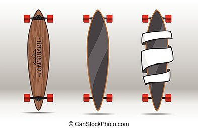 Illustration of flat longboards isolated. - Vector...