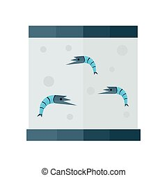 blue shrimp in tank vector