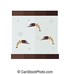 brown shrimp in tank vector