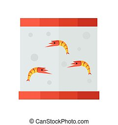 yellow shrimp in tank vector