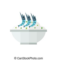 rice and shrimp vector blue