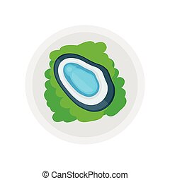 blue shellfish and salad vector