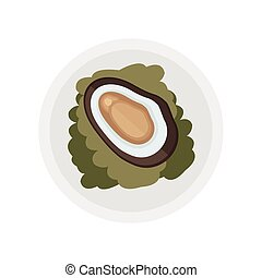 brown shellfish and salad vector