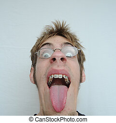 Big Mouth - An ugly man with a huge mouth and tongue...