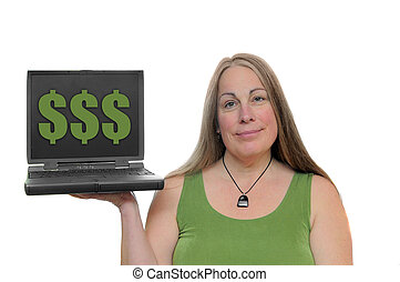 Make Money Online - White woman holding laptop with money...