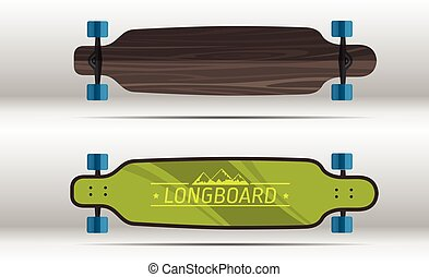 Illustration of flat longboards isolated - Vector...