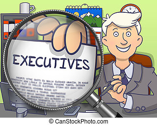 Executives through Lens Doodle Style - Business Man Showing...