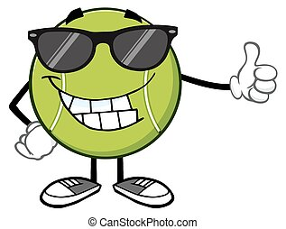 Smiling Tennis Ball With Sunglasses