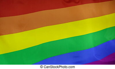 Rainbow flag moving in slow motion - Textile rainbow flag...