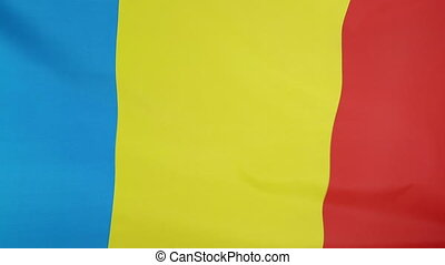 Closeup of textile flag of Romania - Closeup of a textile...