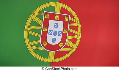 Closeup of Portuguese nation flag in the wind