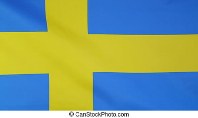 Flag of Sweden in slow motion - Textile flag of Sweden in a...