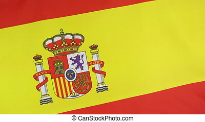 Closeup of a Spanish national flag moving in the wind
