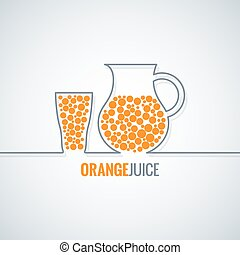 orange juice glass bottle line vector background 10 eps