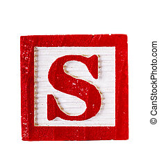 Wooden block letter S isolated
