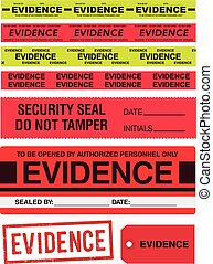 Evidence tapes, stamp, stickers and