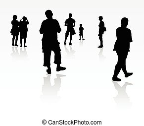 People silhouette walking outdoors