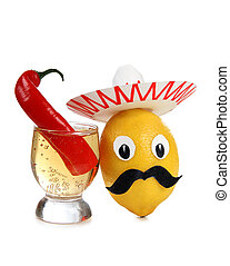 Mexican alcohol - Tequila glass and mexican toys of...