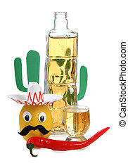 Mexican alcohol and cactus - Tequila glass and mexican toys...