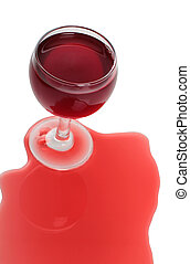 Spilled red wine - Broken glass and spilled red wine on...