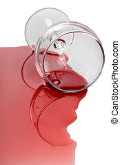 Wine glass on white - Broken glass and spilled red wine on...