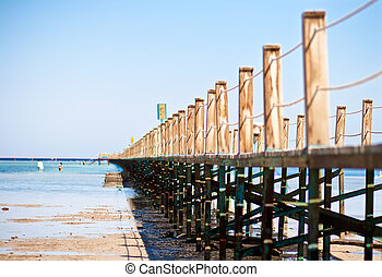 Pontoon - Wooden pontoon in tropical sea