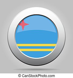 metal button with flag of Aruba - metal button with the...