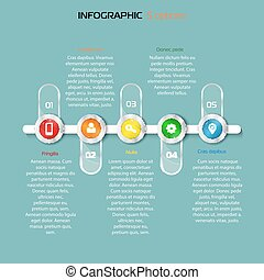 Structure timeline 5 Steps horizontal infographic element -...